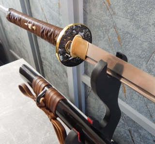 Gold and Black Samurai Katana leather
